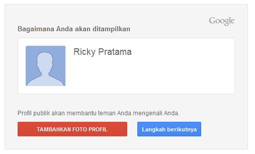 Masukkan foto profil akun Google anda